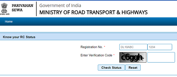 trace vehicle location search rto registration number for owner